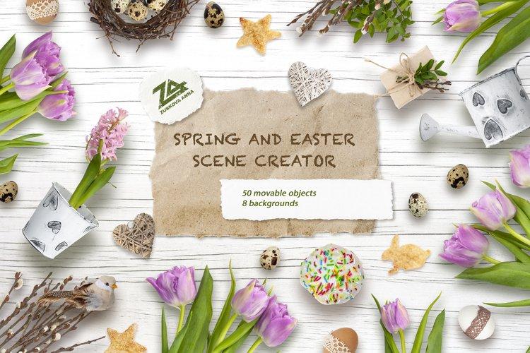 Spring & Easter Scene Creator - Top View - PNG, JPG example image 1