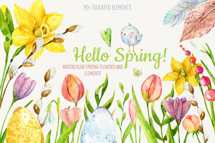 Hello Spring. Watercolor flowers and elements example image 1