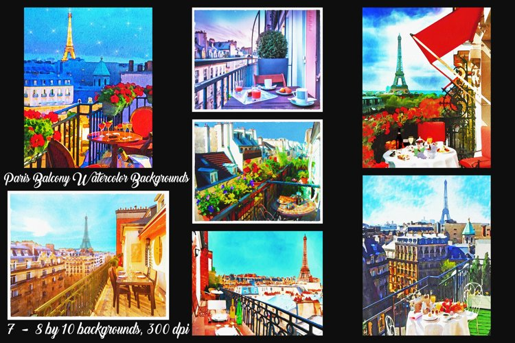 Paris Balcony Watercolor Backgrounds