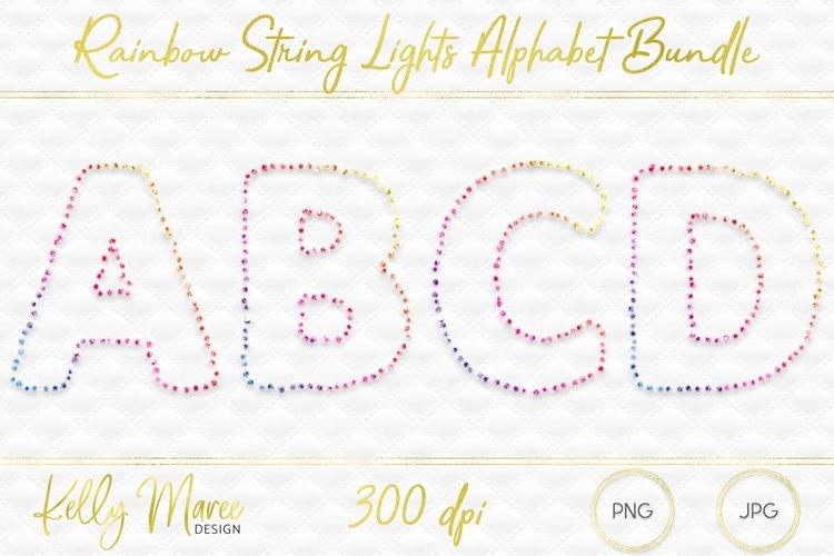 Rainbow String Lights Alphabet Graphic Bundle example image 1