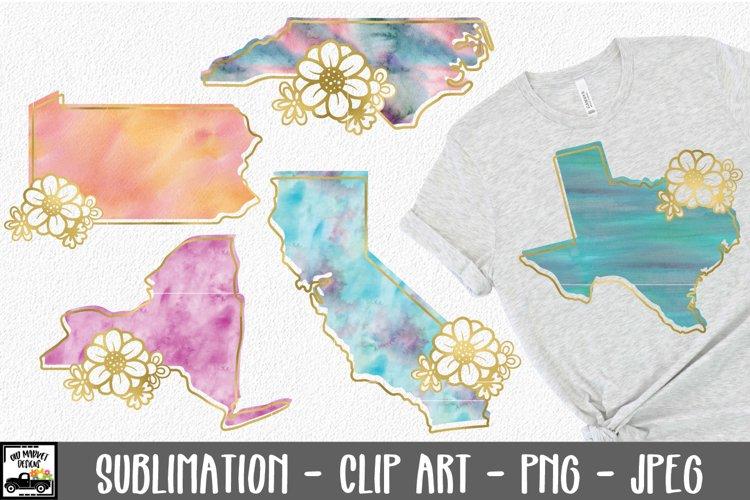 50 States Watercolor Sublimation Bundle