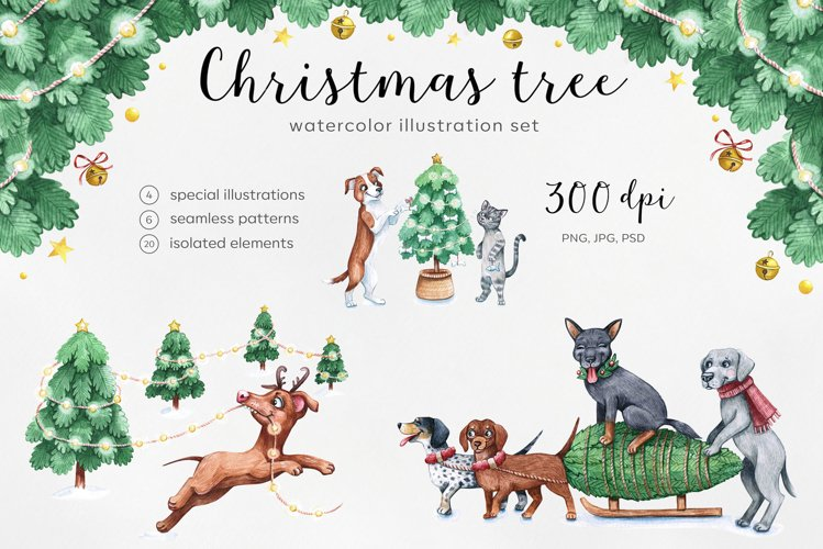 Watercolor christmas illustrations. Dogs Christmas. example image 1