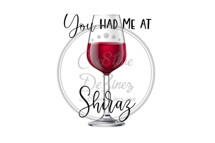 You Had Me at Shiraz - Wine Food Drink Pun - Sublimation example image 1