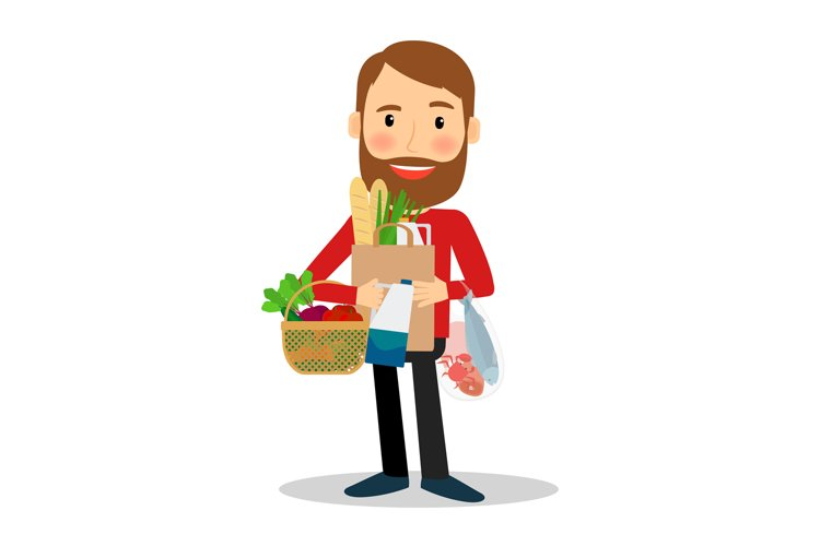Young man with food bag example image 1