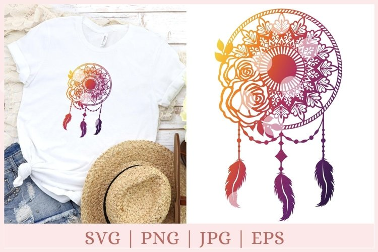 Mandala dreamcatcher svg, dream catcher svg, png example image 1
