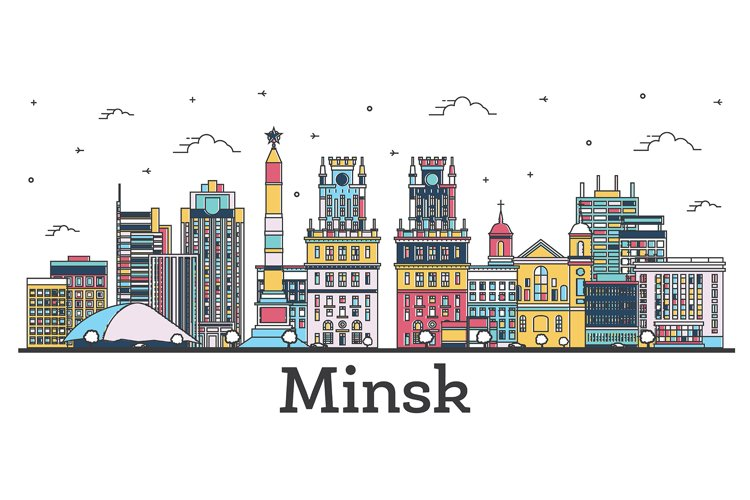 Outline Minsk Belarus City Skyline with Color Buildings example image 1
