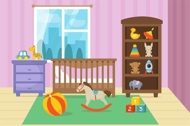 Cartoon childrens room interior with kid toys vector illustr