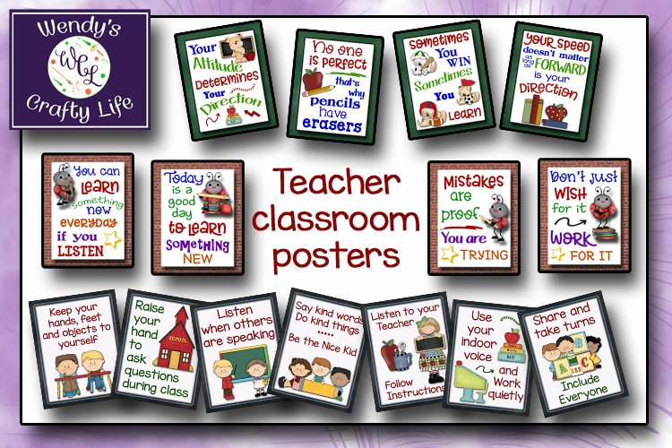 Teacher posters and classroom rules - 8x10 Jpegs & PDF files