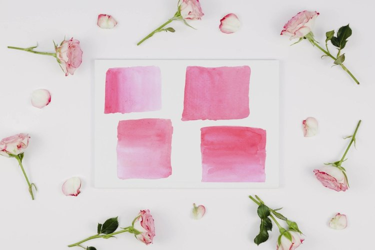 Two Tone Pink Watercolor splash clipart, Pink watercolors example image 1