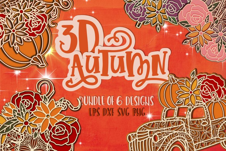 3D Fall bundle svg Papercut SVG Autumn example image 1