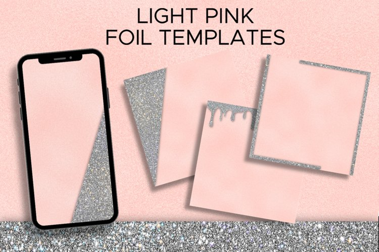 Light Pink Foil and Silver Glitter Instagram Templates