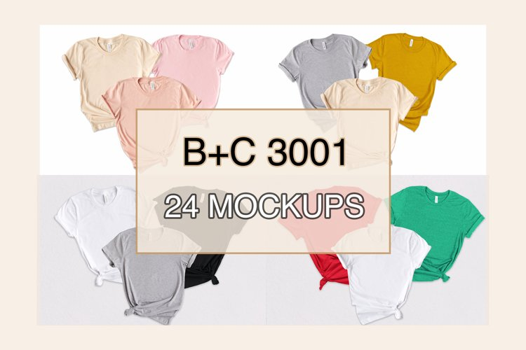 Bundle 24 Family T-Shirt Mockup, Side Knot, 3 Shirt, BC 3001
