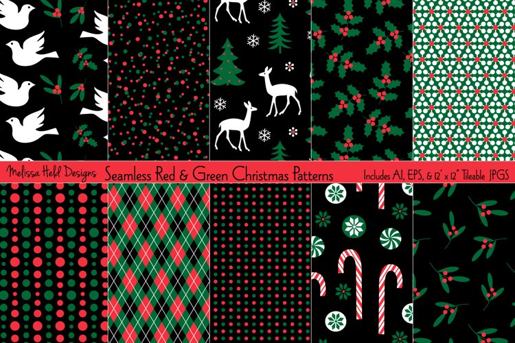 Seamless Red Green Holiday Patterns
