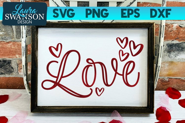Love with Hearts SVG Cut File, Valentine SVG example image 1