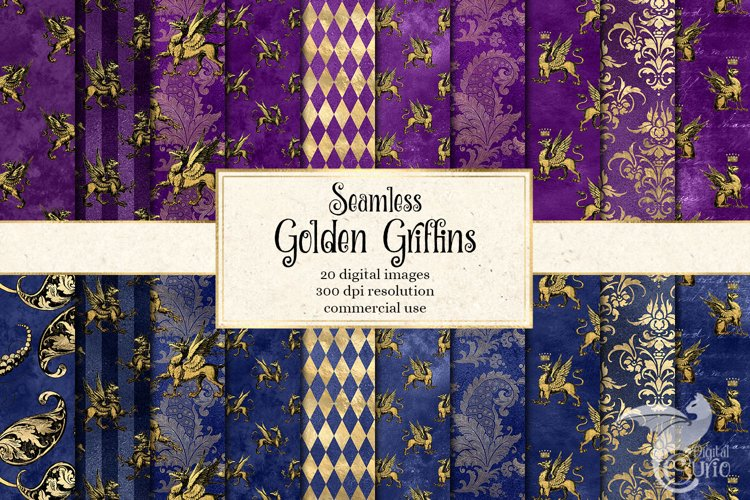 Golden Griffins Digital Paper example image 1