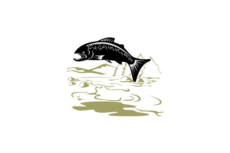 Salmon Fish Jumping Retro example image 1