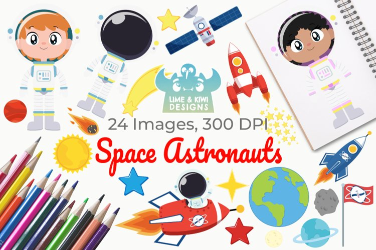 Space Astronauts Clipart, Instant Download Vector Art example image 1