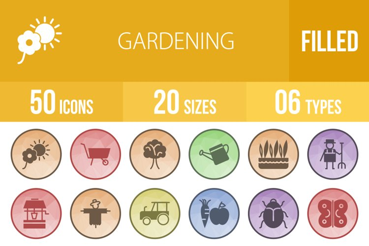 50 Gardening Filled Low Poly Icons example image 1