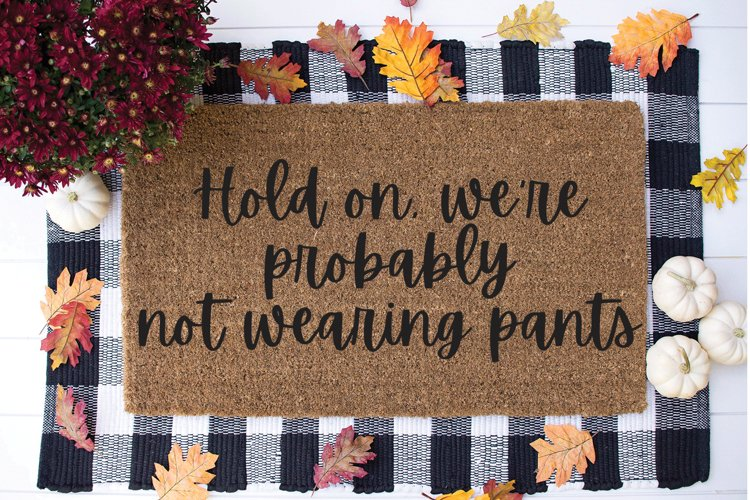 Funny Doormat SVG - Hold On We're Probably Not Wearing Pants example image 1