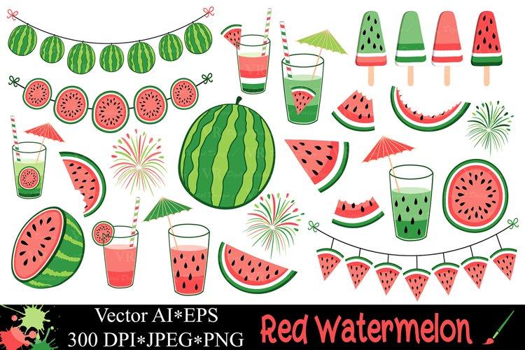 Red watermelon clipart / Summer fruit vector illustrations