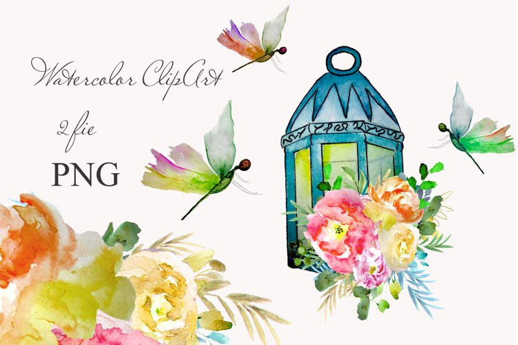 lantern with floral clipart Watercolor for design invite example image 1