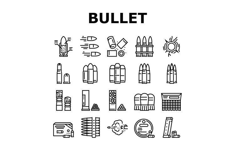 Bullet Ammunition Collection Icons Set Vector example image 1