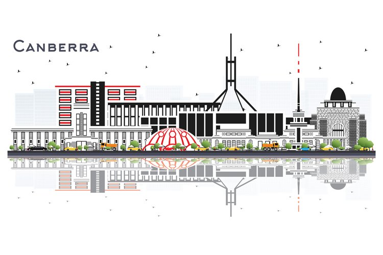 Canberra Australia City Skyline with Gray Buildings example image 1