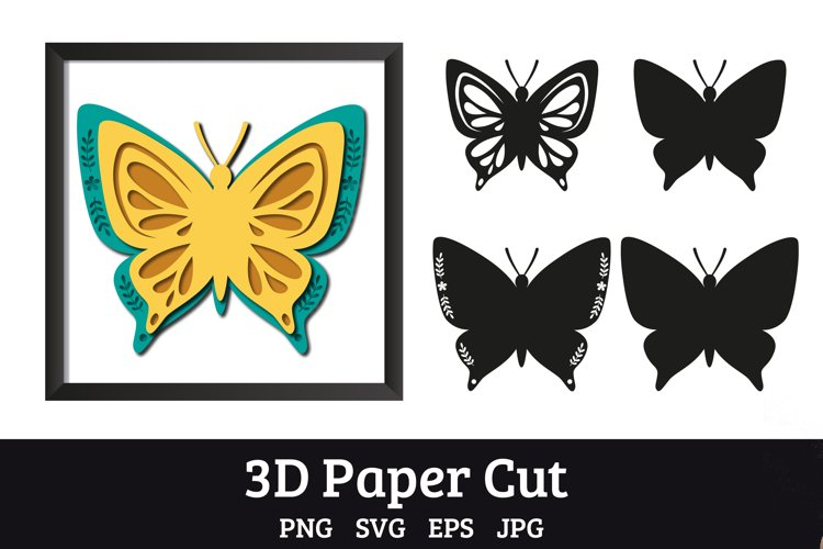 Butterfly SVGs 3d paper cut, layered paper cutting files example