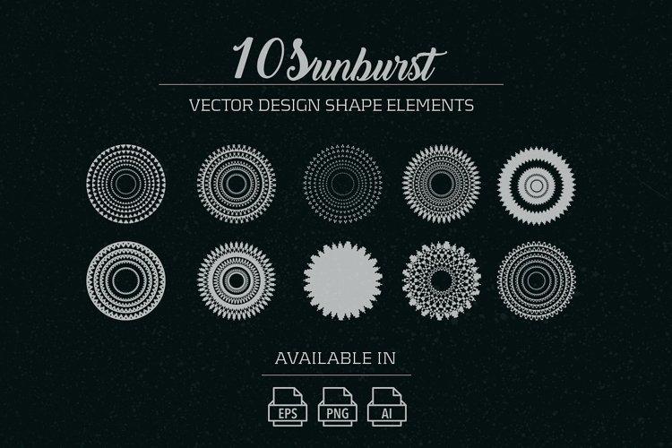 10 sunburst vector shape elements