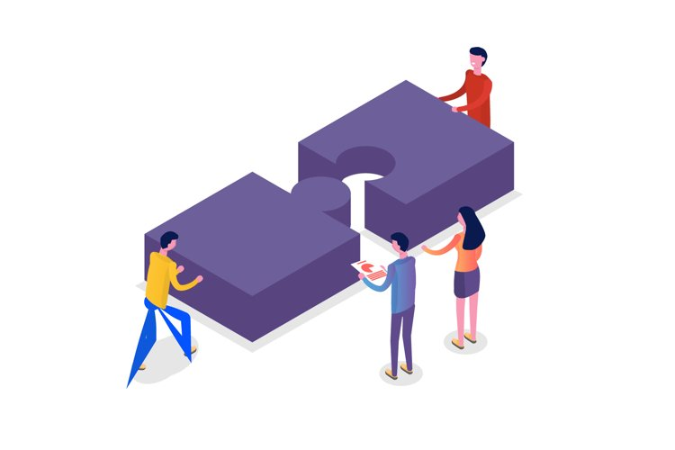 Teamwork concept isometric, people working together example image 1