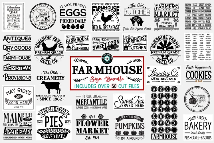 Vintage Farmhouse Sign SVG Bundle of 50 Designs