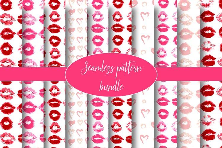 Seamless pattern. Lips, kiss, lipstick. Heart. Love example image 1