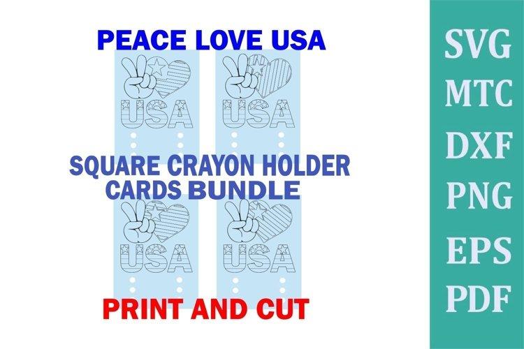Crayon Holder SQUARE 3 Crayons Peace Love USA Coloring Card