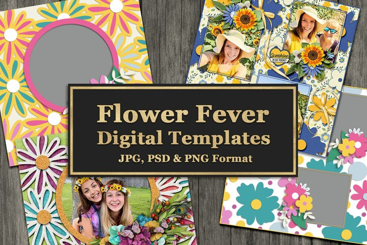 Flower Fever Digital Templates and Cuttables example image 1