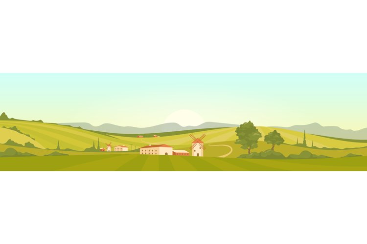Morning in Tuscany flat color vector illustration example image 1