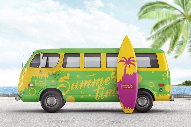 Van With Surfboard Branding Mockup example image 1