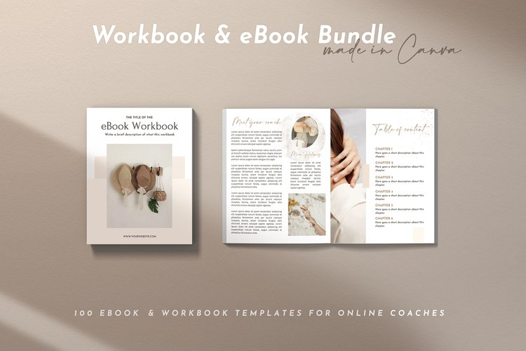 100 Pages Canva Workbook Template   Ebook Template for Canva example image 1
