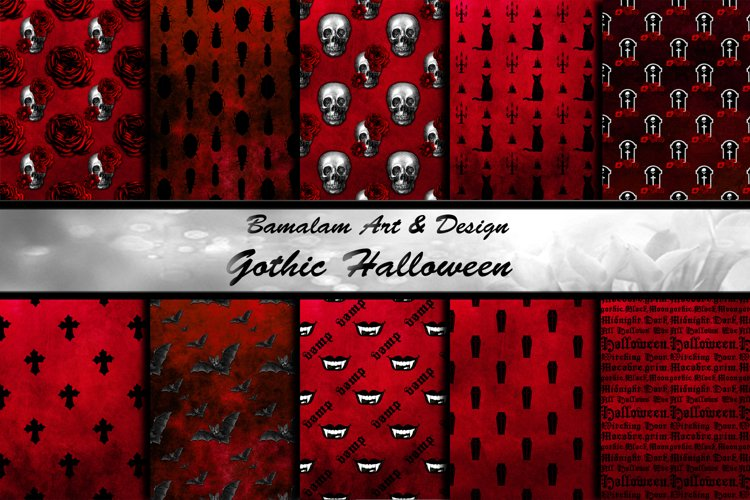 Red   Black Gothic Patterns