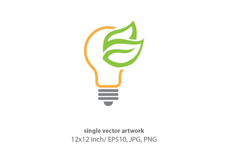 green light bulb, vector example image 1