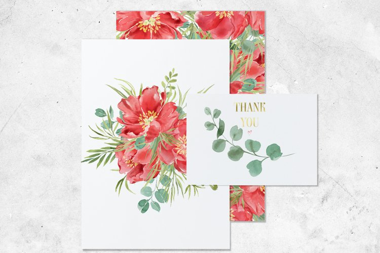 Red peonies clipart, red flowers watercolor clipart. example 4
