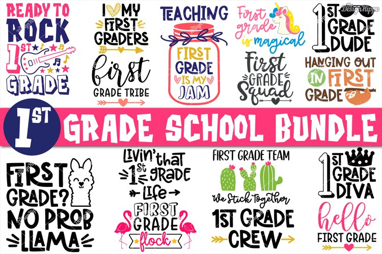 First Grade SVG, Bundle of 15 Designs, SVG DXF PNG Cut Files example image 1