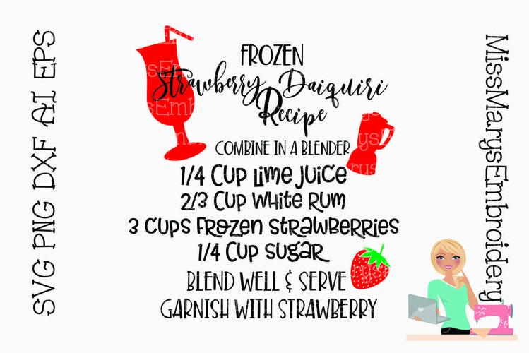 Strawberry Daiquiri Recipe SVG   SVG Recipe   Cocktail SVG example image 1