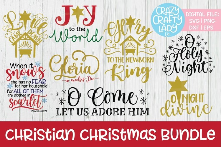 Christian Christmas Bundle SVG DXF EPS PNG Cut Files example image 1