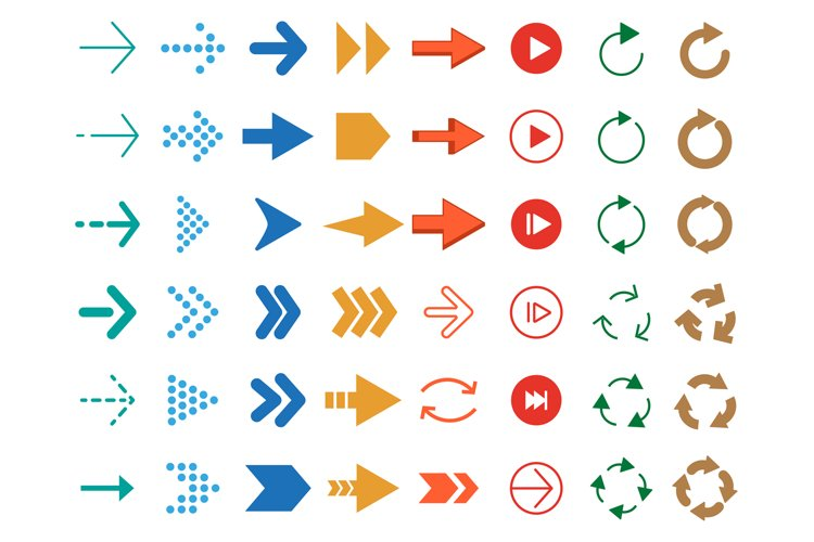Modern colored arrows. Vector icon set example image 1