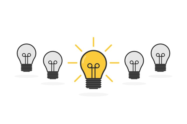 Cartoon lamps. Bulb light icon - idea sign, solution. example image 1