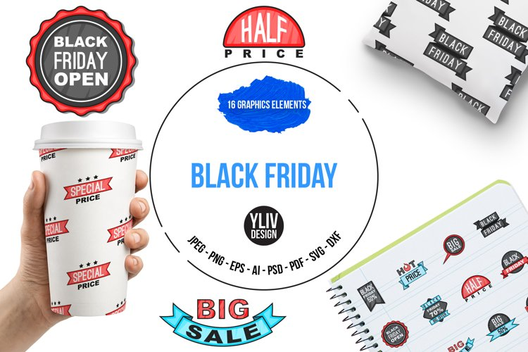 Black Friday icons set, cartoon style example image 1