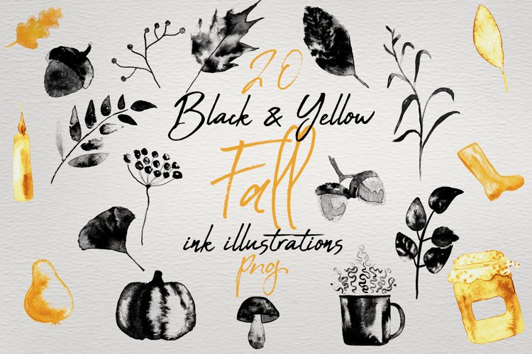 20 Black and Yellow Fall Ink Elements PNG Clipart