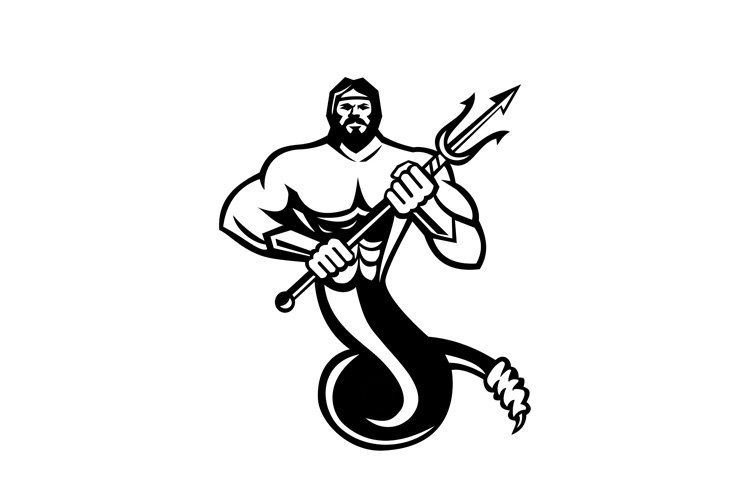 Typhoeus Holding Trident Mascot Black and White example image 1