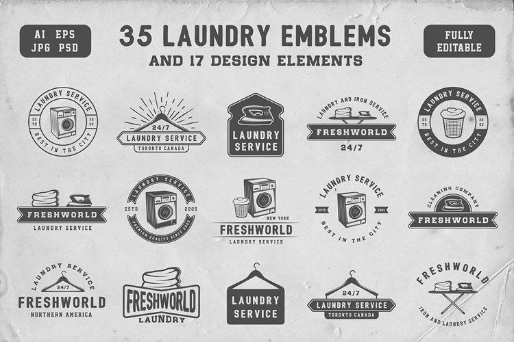 Set of Vintage Laundry Emblems example image 1