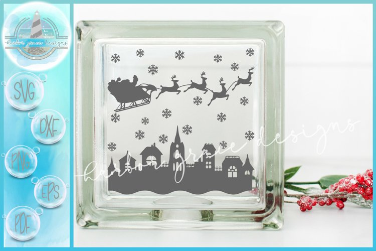 SVG Santa Sleigh with Reindeer Town Glass Block Christmas example image 1